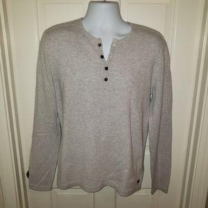 John Varvatos Men's Henley Grey/Cream Sweater NWOT